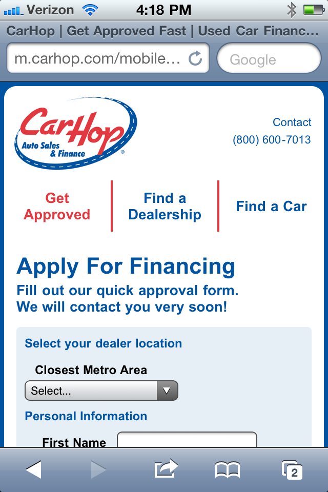 CarHop Mobile Site